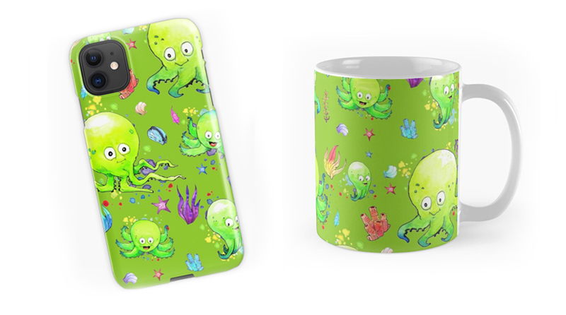 Octobaby Pattern Design Phone Case and Mug - Bill Schiffbauer